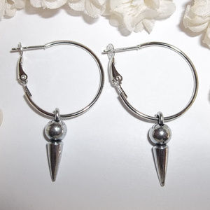 Hoop Earrings Dark Silver Spike Modern Simple 3979